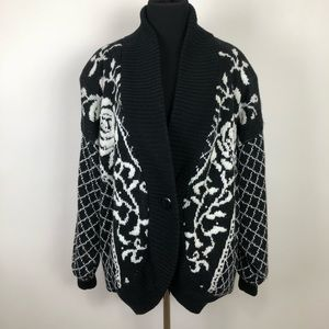 Sweaters - Fun vintage button down cardigan sweater size L